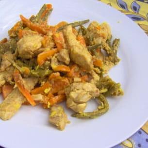 wok de lapin mariné à la thaïlandaise