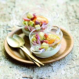 oeufs bio cocotte, pommes de terre persillées et lardons