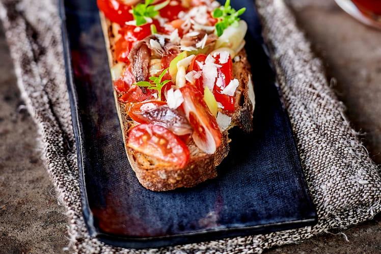 Bruschetta « tomates et anchois fumés »