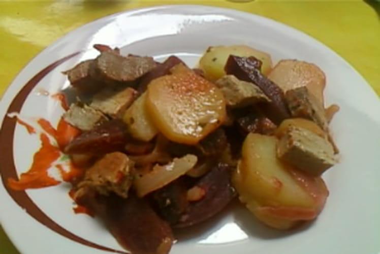 Poêlée de pommes de terre et betteraves