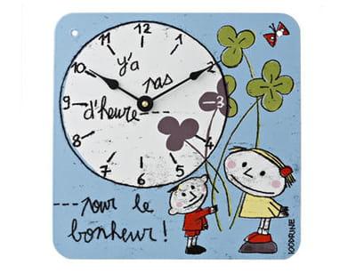 pendule émaillée'y'a pas d'heure pour le bonheur !'