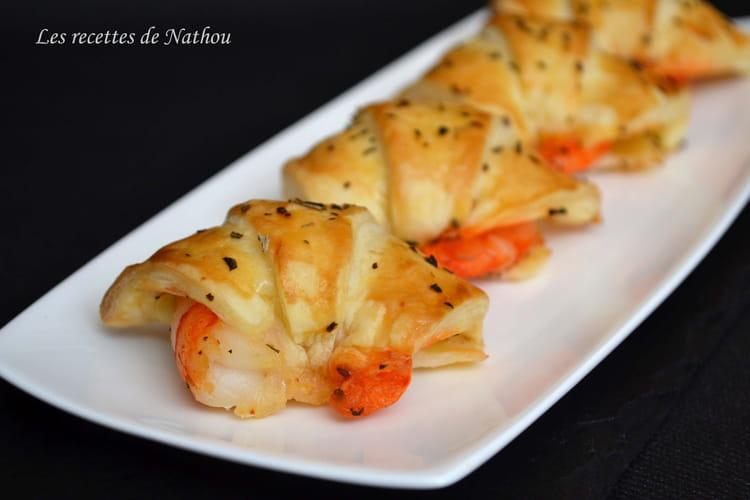 Croissants feuilletés aux gambas marinés