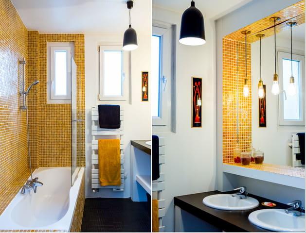 Petite salle de bains jaune étincelant