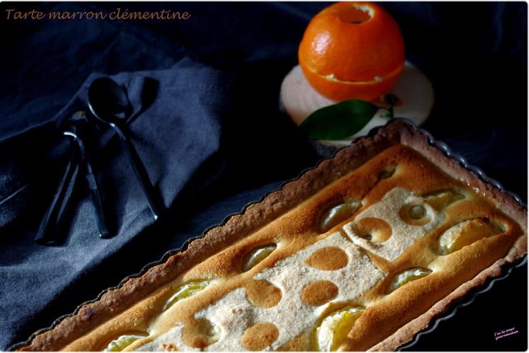 Tarte à la crème de marrons et aux clémentines