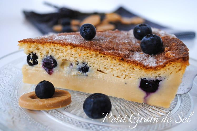 Gâteau magique myrtilles et chocolat blond Dulcey
