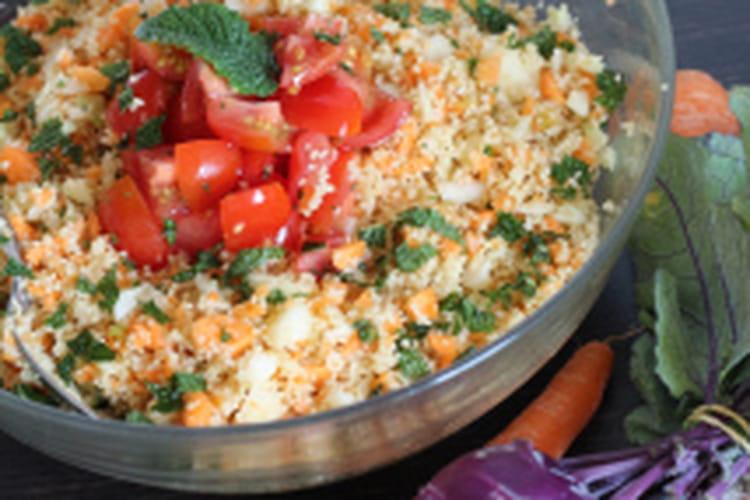 Taboulé végétal citronné, chou-rave et carottes