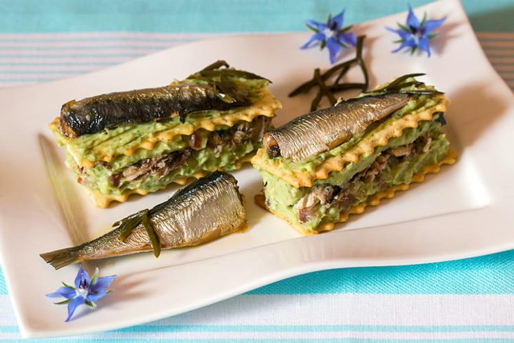 Mille-feuille de sardines au guacamole