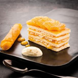 ananas rôti, crème vanille et espuma passion