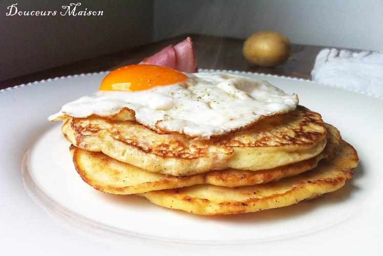 Pancakes de pommes de terre bacon et Oeuf