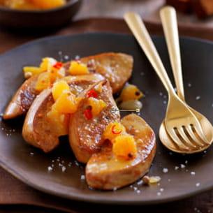 escalopes de foie gras et chutney d'ananas à la fleur de sel de guérande