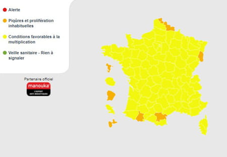 Carte de la présence de moustiques en France en 2021