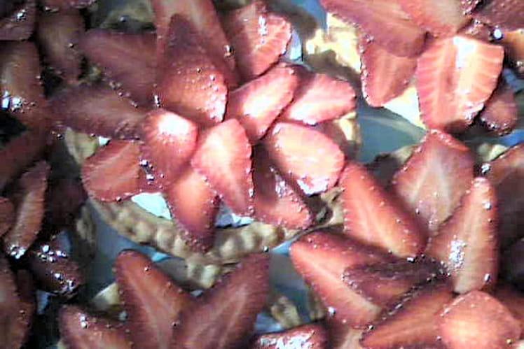 Tartelettes aux fraises sur mousse au chocolat blanc