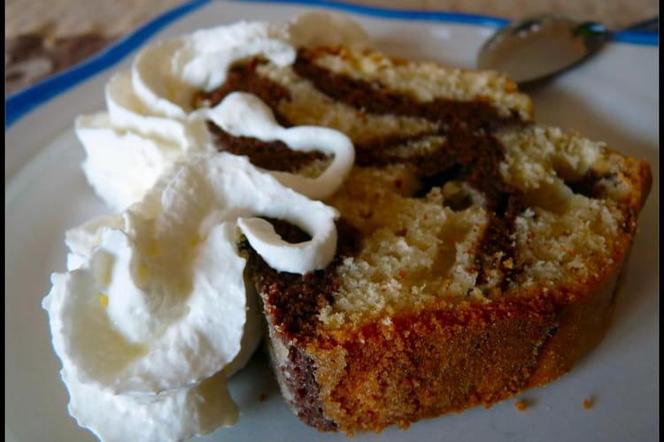Cake marbré chocolat-citron-noix