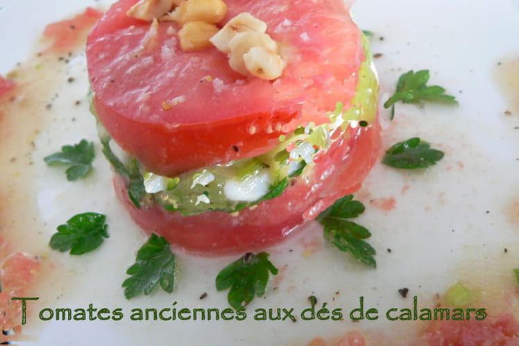 Tomates anciennes aux dés de calamars