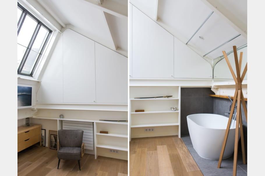 Une salle de bains cosy sous les toits for Salle de bain sous les toits
