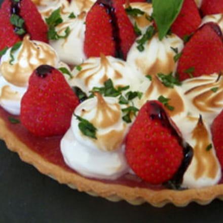 tarte aux fraises meringuée au balsamique