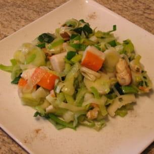 salade de poireaux aux fruits de mer