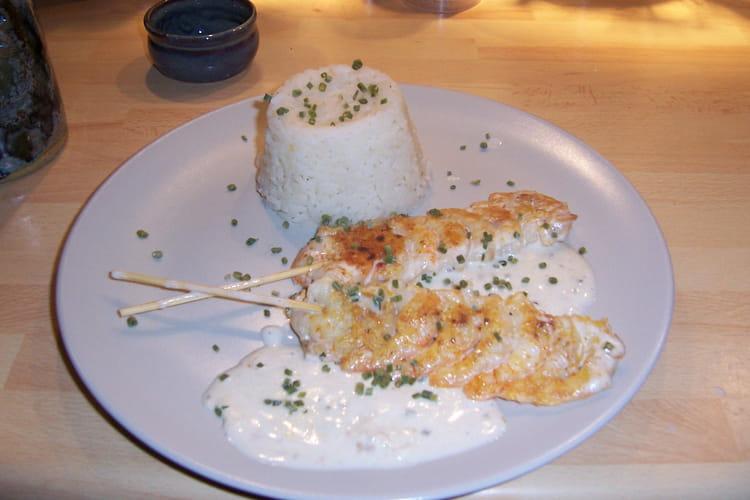 Brochettes de crevettes à la crème