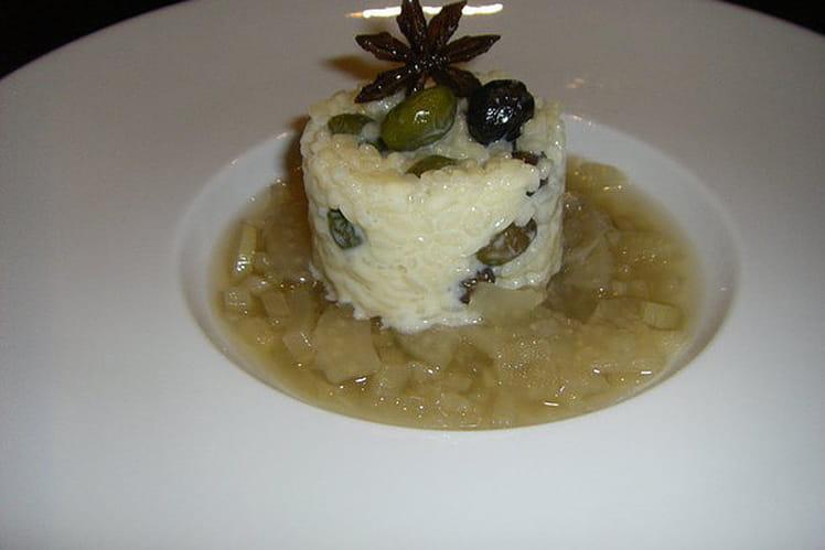 Risotto sucré aux olives confites et compotée de fenouil