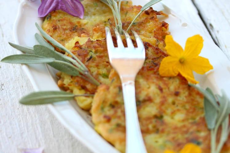 Galettes de courgette, pommes de terre et sauge fraiche sans gluten