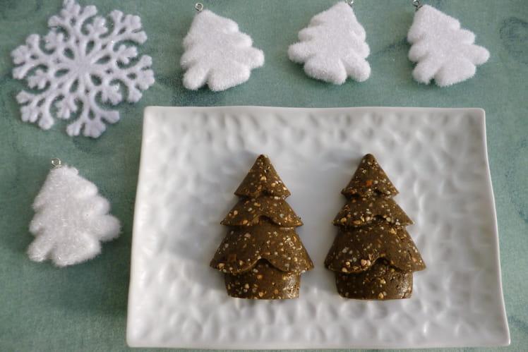 Gâteaux-sapins crus végans chanvre-sarrasin avec pommes-noisettes-noix-dattes-raisins et psyllium