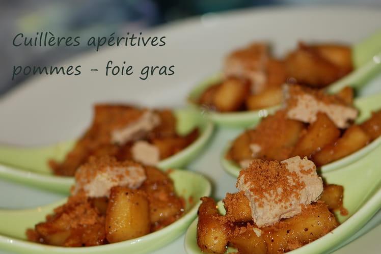 Recette de cuill res ap ritives pommes foie gras la - Cuisiner un foie gras congele ...