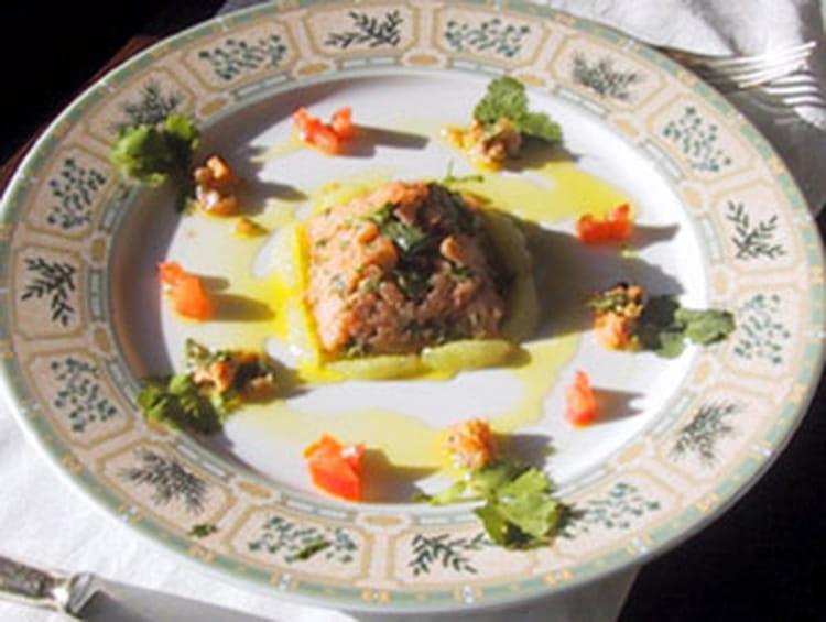 Recette de tartare d 39 huitres saint jacques et saumon - Cuisiner saumon surgele ...