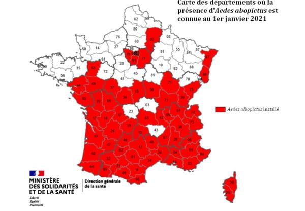 Carte des départements où circule le moustique tigre (2021)