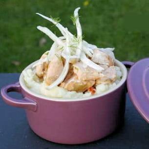 cassolette de saumon en cru-cuit de fenouil