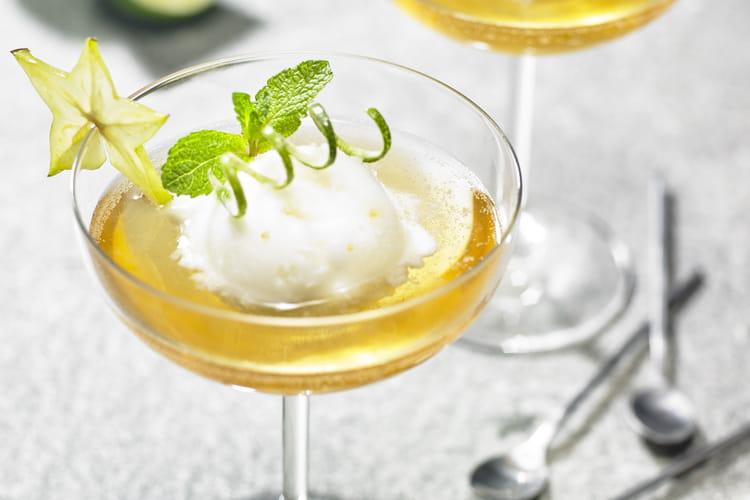 Nage de sorbet citron pétillant