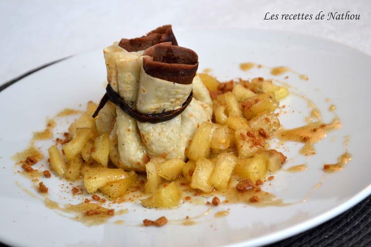 Aumônières de crêpes aux pommes caramélisées à la vanille