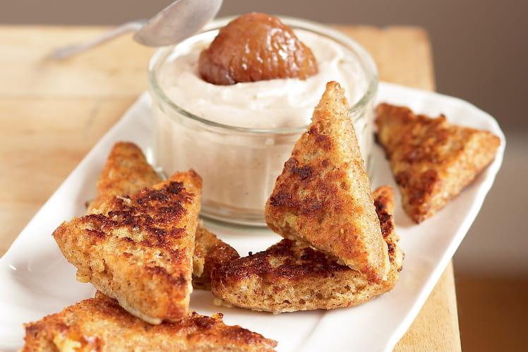 Verrines de pain retrouvé  mousse à la crème de marron