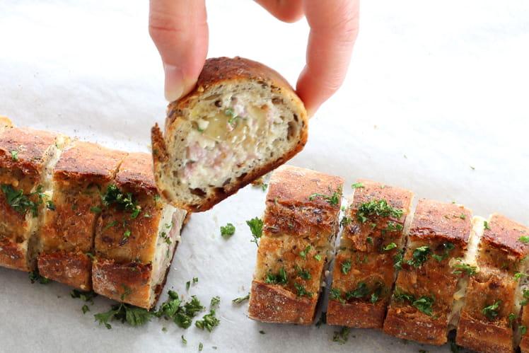 Baguette Fourrée au Fromage Frais et Jambon