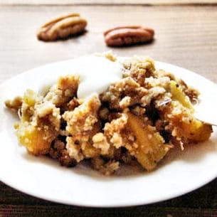 crumble ananas-bananes aux noix de pécan