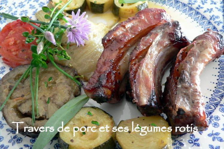 Travers de porc et ses légumes rotis