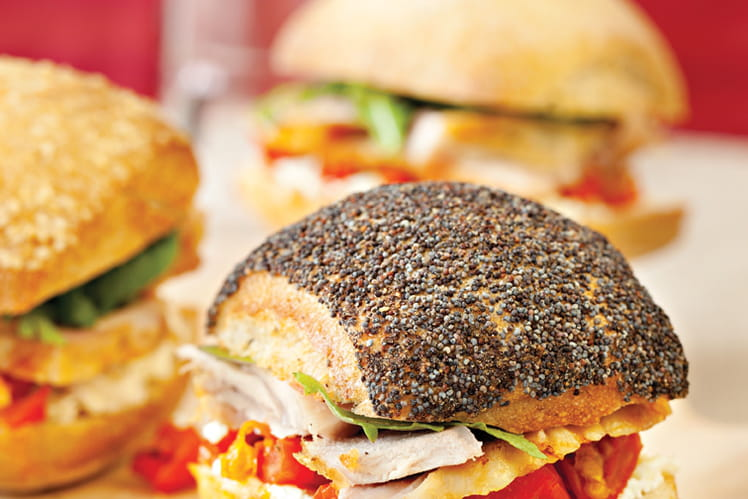 Assortiment de minis sandwichs de cuisses de dinde
