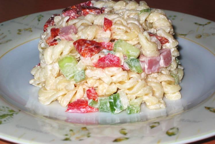 Pâtes en salade multicolore