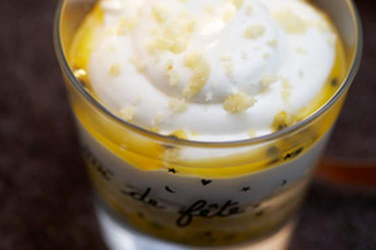 Glace vanille à la mangue, sirop passion
