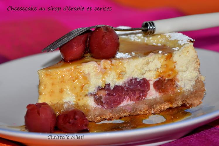 Cheesecake au sirop d'érable et cerises
