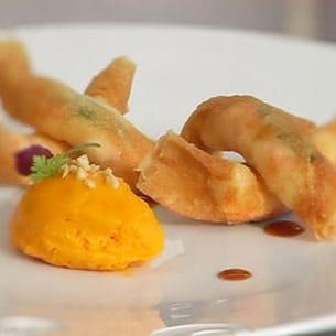 croustillants de langoustines à la verveine, bavarois de carotte de gaël orieux