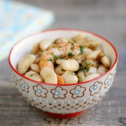 salade de haricots tarbais aux crevettes roses