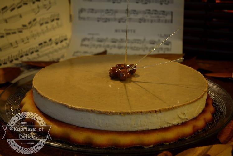 Cheesecake crème de patate douce confite et praliné, biscuit financier géant