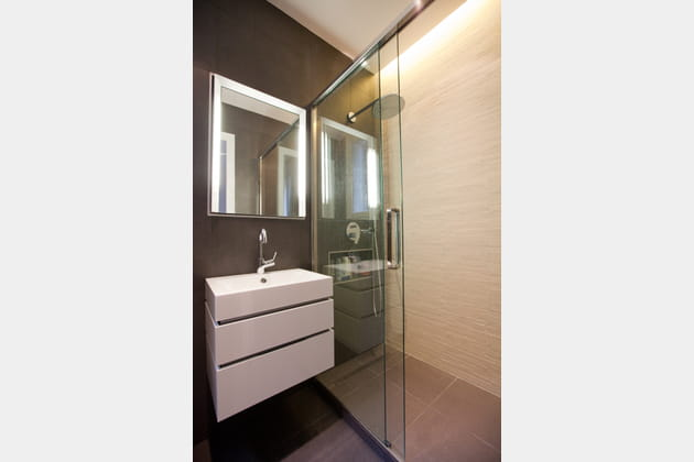 Petite salle de bains calme et graphique