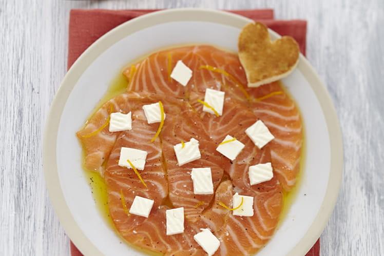 Carpaccio saumon au Caprice des Dieux à l'orange