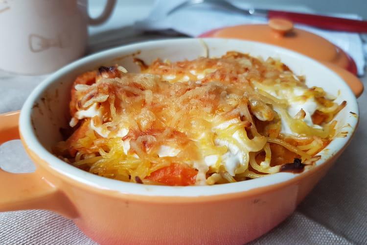 Gratin de pâtes, courge et carotte