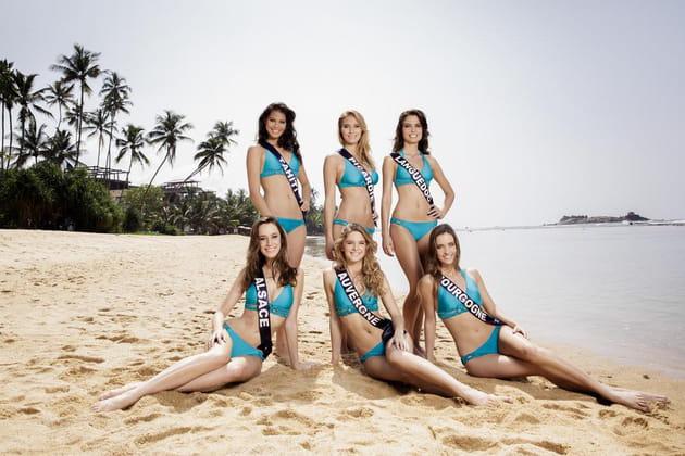 Miss Tahiti, Picardie, Languedoc, Alsace, Auvergne, et Bourgogne en maillots de bain