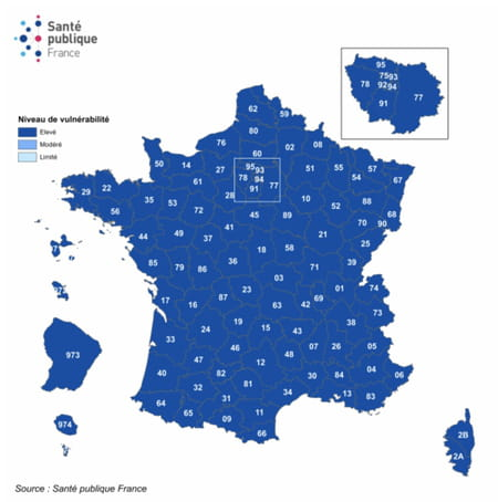 Niveau de vulnérabilité par département et évolution, France, au 5 janvier 2021