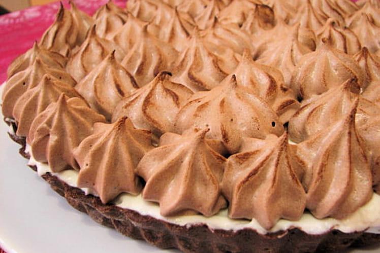 Tarte à la mousse de poire meringuée au chocolat