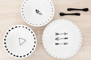 résultat, des assiettes et coupelles personnalisées et ultra tendance... pour