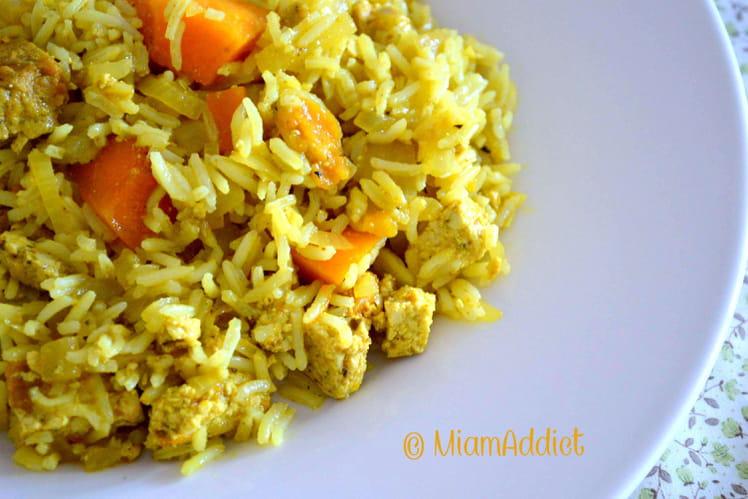 Riz, potimarron et tofu au curry